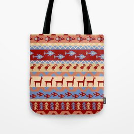 Inca Animals Fish and Birds Pattern Tote Bag