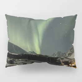 Northern Light Show Natural Fireworks Photo | Aurora Borealis Norway Art Print | Travel Photography Pillow Sham
