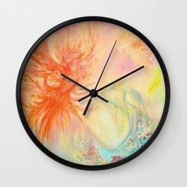 Phoenix, mysterious birds, parrots Wall Clock