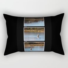Gone Fishing Triptych Black Rectangular Pillow