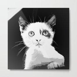 cute cat blue eyes vector art black white Metal Print