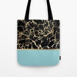 Elegant black teal faux gold modern marble Tote Bag