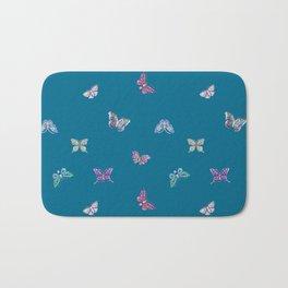 Christmas jeweled butterflies on teal, butterfly, jewels, precious, butterflies, new year, t Bath Mat