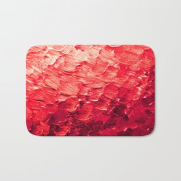 MERMAID SCALES 4 Red Vibrant Ocean Waves Splash Crimson Strawberry Summer Ombre Abstract Painting Bath Mat