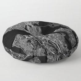 Seattle Black Map Floor Pillow