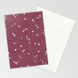 Red Plum and White Grid - Missing Pieces Stationery Cards