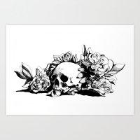 hamlet Art Prints featuring Hamlet Skull by Alex Moon