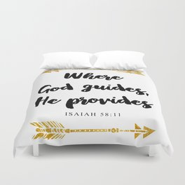 Isaiah 58:11 Bible Verse Duvet Cover