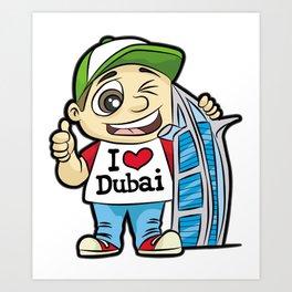 I LOVE DUBAI GUY BURJ AL ARAB HOTEL Vacation Art Print