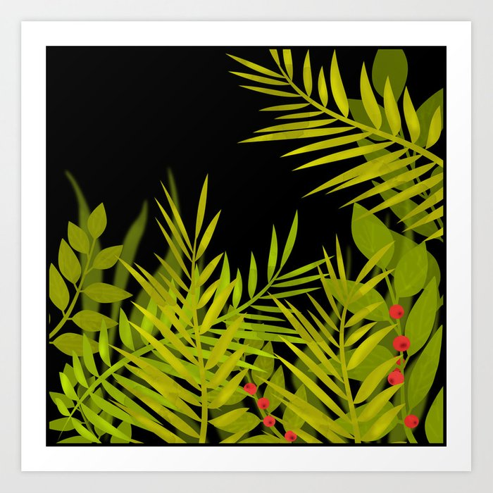 The leaves and berries. Art Print