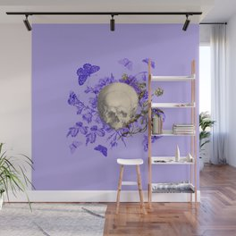 Purple Halloween Floral Skull Wall Mural