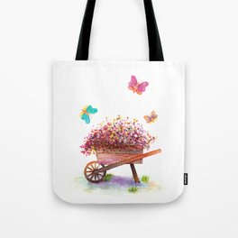 Flowers Cart Watecolor Tote Bag