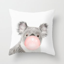 Funny koala with pink bubble gum Throw Pillow
