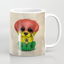 Cute Puppy Dog with flag of Ghana Coffee Mug