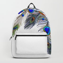 BLUE PEACOCK FEATHER & JEWELS Backpack