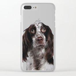 English Springer Spaniel - Puppy Dog Digital Art Illustration Clear iPhone Case
