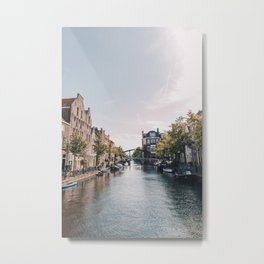 Canal Holland - City Travel Photography - Leiden Netherlands Metal Print