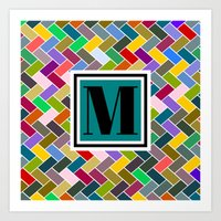 monogram Art Prints featuring M Monogram by mailboxdisco