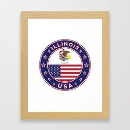 Illinois, Illinois t-shirt, Illinois sticker, circle, Illinois flag, white bg Framed Art Print