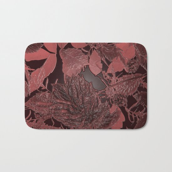 Burgundy leaves on black background abstract design vintage style Bath Mat