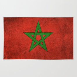 Old and Worn Distressed Vintage Flag of Morocco Rug