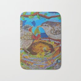 Two Birds In Colorful Nest With Quotes About Wrens Bath Mat