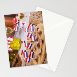 II - Dutch herring ('haring') with onions and pickles on rustic table Stationery Cards
