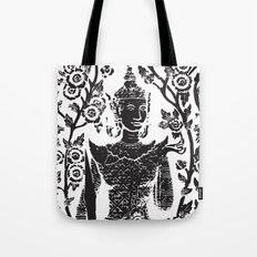 Buddha with flowers Tote Bag