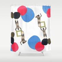 league Shower Curtains featuring champions league II by sofia de eça