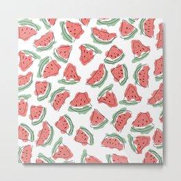 Modern Artsy Watercolor Coral Mint Black Watermelon Metal Print