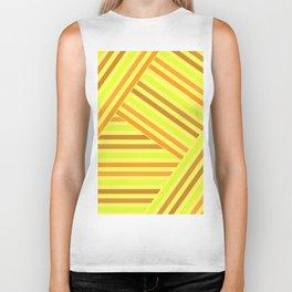 Bright yellow stripes Biker Tank