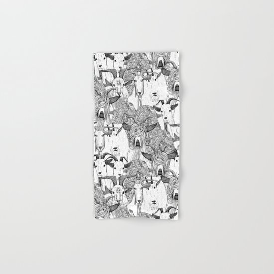 just goats black white Hand & Bath Towel