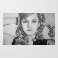 emma watson Area & Throw Rugs featuring Emma Watson by Lindsay Hall