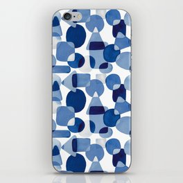 Blue Watercolour Geometric iPhone Skin
