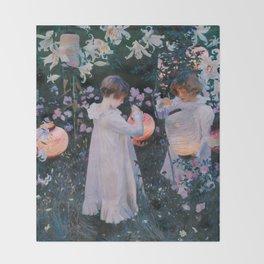Carnation, Lily, Lily, Rose - John Singer Sargent Throw Blanket