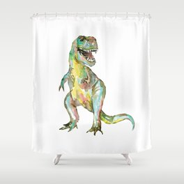 T-rex dinosaur painting watercolour  Shower Curtain