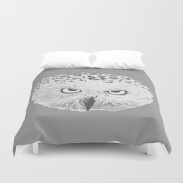 Snowy Owl Grey Duvet Cover