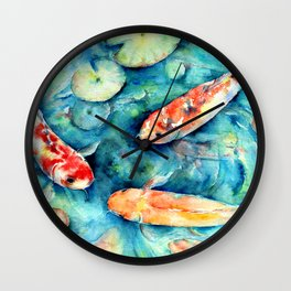 Watercolor Koi Fish in Lily Pond Impressionist  Wall Clock
