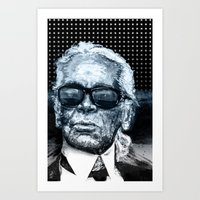 karl lagerfeld Art Prints featuring Karl Lagerfeld by michael pfister