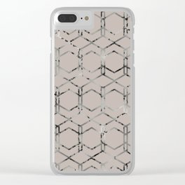 Silver Geometric Art Deco - Gatsby Taupe Clear iPhone Case