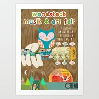 woodstock Art Prints featuring woodstock owl  by Claudia Schoen