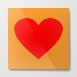 Red heart in orange Metal Print