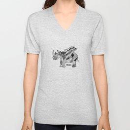 Illustrated Rhino – Union – Black Unisex V-Neck
