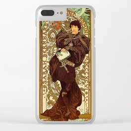 Vintage Alphonse Mucha Lorenzaccio vertical banner Clear iPhone Case