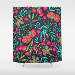 Asian-Inspired Happy Joy Colorful Floral Pattern Shower Curtain