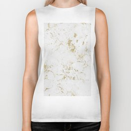 White and gold faux marble Biker Tank