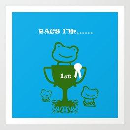 Little Frog- bags I'm first Art Print