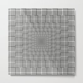 Black & White Basket Weave Metal Print