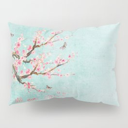 Its All Over Again - Romantic Spring Cherry Blossom Butterfly Illustration on Teal Watercolor Pillow Sham