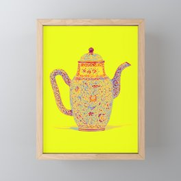 A PAINTED ENAMEL FAMILLE ROSE YELLOW-GROUND EWER AND COVER 18TH CENTURY Neon art by Ahmet Asar Framed Mini Art Print